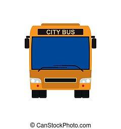 veículo, vista, transporte, tráfego, illustration., isolado, drive., viagem, cidade, elementar, frente, turista, cidade, sinal, viagem, cartoon., transporte, carro passageiro, amarela, vetorial, automático, arte, furgão, icon., público, autocarro