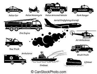 veículos, ícone, emergência, lista, set., resposta