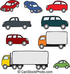 veículos, caricatura, sortido