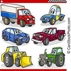 veículos, engraçado, jogo, caricatura, carros