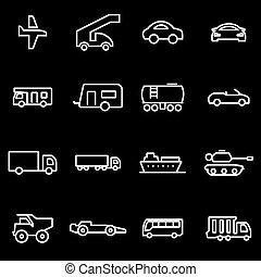 veículos, linha, vetorial, jogo, ícone