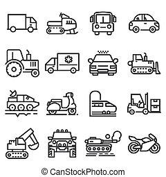 veículos, linha, vetorial, jogo, ícones