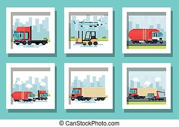 veículos, pacote, transporte, entrega