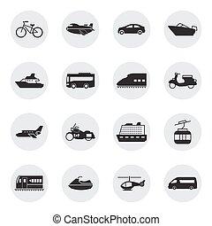veículos, transporte, ícones