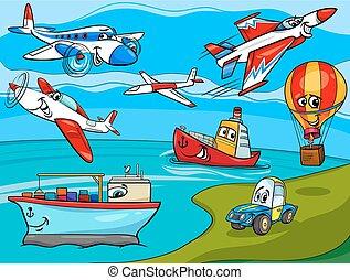 veículos, transporte, caricatura, ilustração