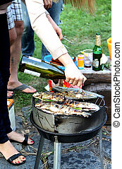 večírek při pečení selete, zahrada