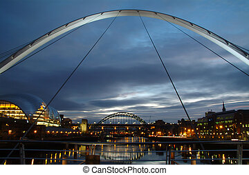 večer, brid, do, newcastle