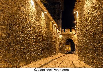 večer, -, bulharsko, září, pod, pevnost, plovdiv, kočičí hlava, město, starobylý, fotografie, dávný, 2, město, 2016:, vchod, ulice