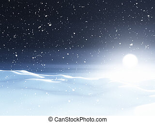 večer, krajina, 3, sněžný, vánoce