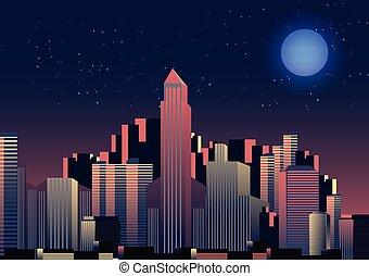 večer, velkoměsto městská silueta