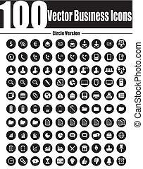 ve, 商務圖標, 矢量, 環繞, 100