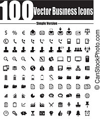 ve, 商務圖標, 簡單, 矢量, 100