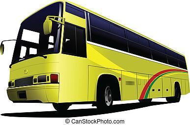 ve, 観光客, bus., 都市, 黄色, coach.