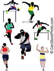 ve, athletics., いくつか, セット, 種類