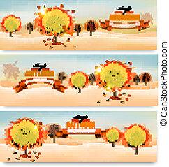 ve, colorito, alberi., astratto, tre, autunno, bandiere, foglie
