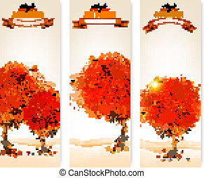 ve, colorito, bandiere, astratto, foglie tre, autunno, alberi.