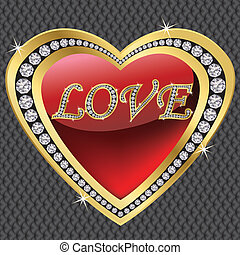 ve, coração, diamante, dia, valentine