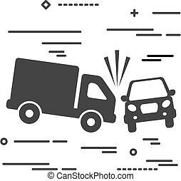ve, lastbil, grafik, image, automobilen, beklæde, konstruktion, styrt, begreb, lejlighed