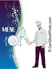 ve, menu., 有色人種, レストラン, (cafe)
