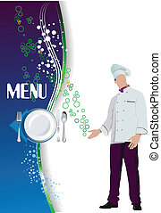 ve, menu., színezett, étterem, (cafe)