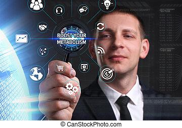 ve, red, trabajando, inscription:, concept., joven, virtual, su, futuro, internet, pantalla, hombre de negocios, empresa / negocio, alza, metabolism, tecnología
