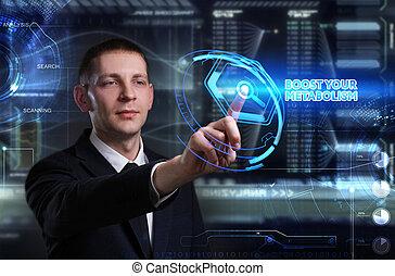 ve, red, trabajando, inscription:, pizarra, concept., joven, virtual, metabolism, futuro, internet, hombre de negocios, tecnología, empresa / negocio, alza, su, él