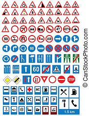 ve, señal, signs., tráfico de camino, icons.
