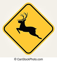 veado, atenção, -, ilustração, sinal, vetorial, crossing., animal selvagem, estrada