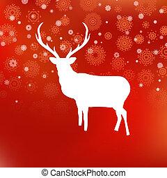 veado, eps, experiência., 8, christmas branco, vermelho