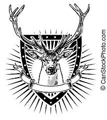 veado, escudo