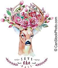 veado, watercolor., salvar, a, date., eps, 10., casório,...