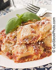 Veal and Sage Ravioli with Tomato and Basil Sauce with...