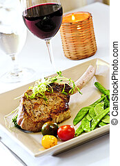 Veal dinner - Gourmet dinner of veal rib chop and vegetables