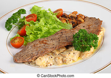 Veal escalope and mushrooms in cream sauce - A meal of a...