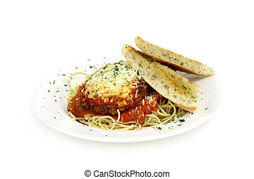 veal orchicken parmesean - veal parmesan with garlic bread...