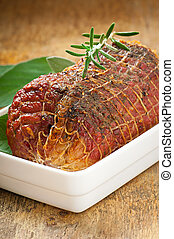 veal roll filled with minced beef meat and herbs