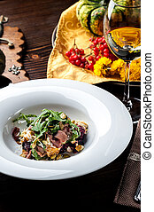 Veal Salad. Autumn composition with pumpkin. halloween