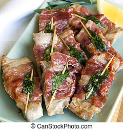 Veal Saltimbocca - Veal saltimbocca. Traditional dish with...