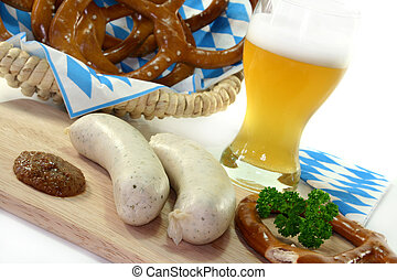 veal sausage with sweet mustard and pretzels