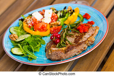 Veal with freshness vegetables is tasty dish