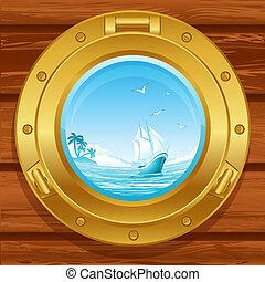 porthole - Vebrass porthole on a wooden covering