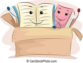 vecchi libri, mascotte, scatola donazione