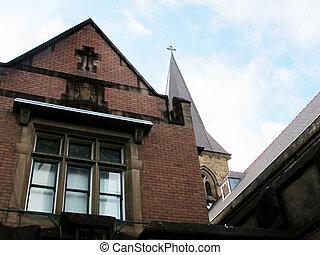 vecchia chiesa, con, croce