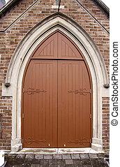 vecchia chiesa, porta, in, auckland, nuova zelanda