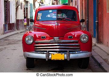 vecchia città, cuba, vendemmia, automobile via, avana, rosso