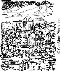 vecchia città, vettore, illustrazione