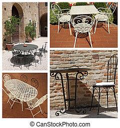 vecchia moda, mobilia giardino, collage, italia