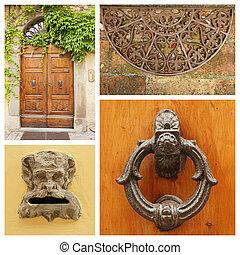 vecchia moda, porta, dettagli, collage, toscana