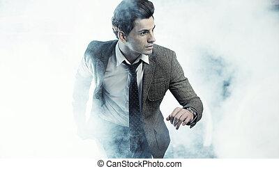 vecchia moda, stile, foto, di, bello, uomo