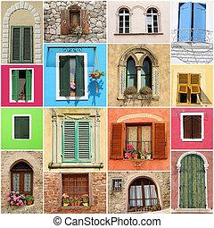 vecchia moda, windows, collage
